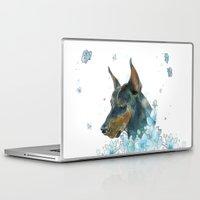 doberman Laptop & iPad Skins featuring Blue Doberman by Parmelyn