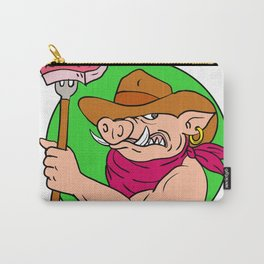 Cowboy Hog Holding Barbecue Steak Drawing Color Carry-All Pouch