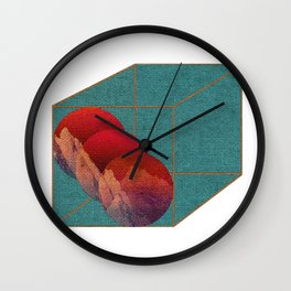 Under a Blood Red Sky White Backdrop  Wall Clock