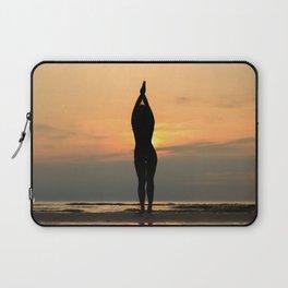 Beautful Yoga Silhouette on Beach Laptop Sleeve