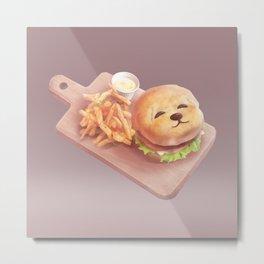 Smile Dog Burger Metal Print