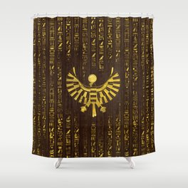 Golden Egyptian Horus Falcon and hieroglyphics on wood Shower Curtain