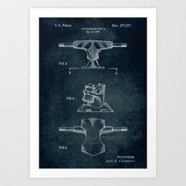 1980 - Skateboard truck patent art Art Print