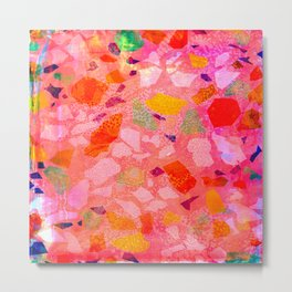 Sea Glass Abstract Pattern in Pink Metal Print
