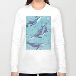 Big space whales pattern Long Sleeve T-shirt