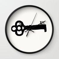 key Wall Clocks featuring Key. by Ida Christine