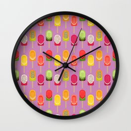 Fruit popsicles - pink version Wall Clock
