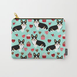 Welsh corgi valentines day gifts tri colored corgis cupcakes hearts love dog breed corgi crew Carry-All Pouch