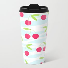 Seamless cherry pattern on striped Metal Travel Mug