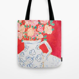 Delft Bird Pitcher on Red Background Tote Bag