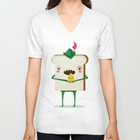 peter pan V-neck T-shirts featuring Peter pan and tinkerbell by Maria Jose Da Luz