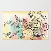 decorative Area & Throw Rugs featuring Decorative Floral by famenxt