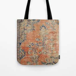 Vintage Woven Navy and Orange Tote Bag