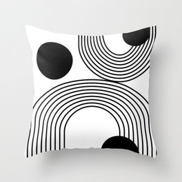 Modern Minimalist Line Art in Black and White Throw Pillow