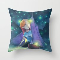 Throw Pillows featuring Camping with fireflies by Jeremy Parigi