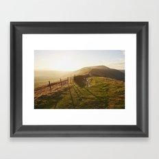 Rushup Edge at sunset. Derbyshire, UK. Framed Art Print