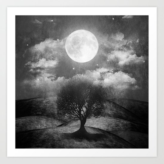Black and white - Once upon a time... The lone tree. Art Print