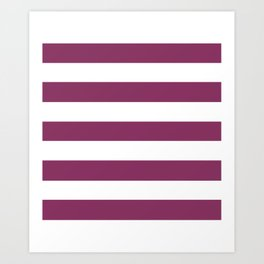 Boysenberry - solid color - white stripes pattern Art Print