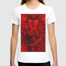 Butterfly and fractal in black and blood red T-shirt