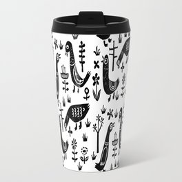 Linocut black and white birds minimal farm pattern nature art Travel Mug