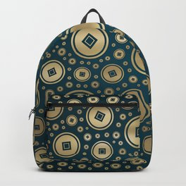Lucky Gold Chinese coins pattern on dark teal Backpack