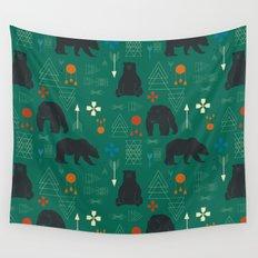 Tribal bear Green Wall Tapestry