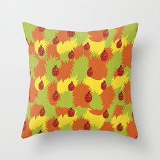 Autumn Leaves And Ladybugs Throw Pillow