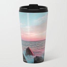 Pink and Blue Sunset Over Newport Rhode Island Travel Mug