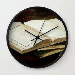 Books, acrylic on canvas Wall Clock