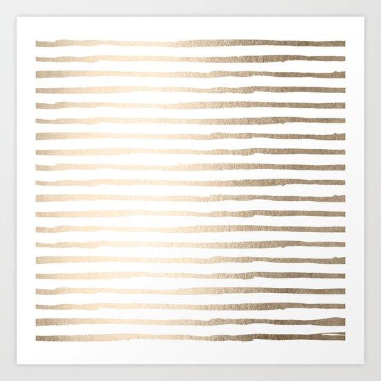 White Gold Sands Thin Stripes Art Print