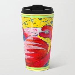 Modern Yellow Art  Flamingo Preening Design Travel Mug