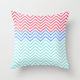 Chevron Blue and Red vintage Throw Pillow