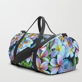 Rainbow Plumeria Dark Duffle Bag