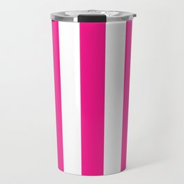 Philippine pink - solid color - white vertical lines pattern Travel Mug