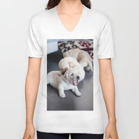 labrador V-neck T-shirts featuring Labrador Puppy by Diandra