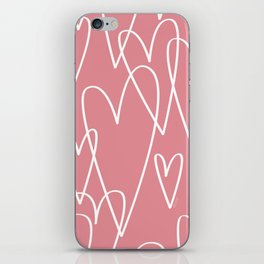 Doodle Hearts in Pink by Friztin iPhone Skin
