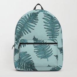Blue fern garden botanical leaf illustration pattern Backpack