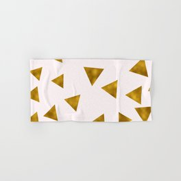Soft Pink And Rustic Gold Triangles Hand & Bath Towel