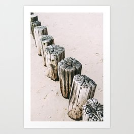 Poles on the beach, pastel travel photo print, the Netherlands Art Print