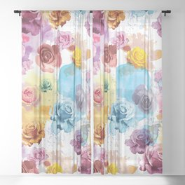Watercolor Roses Sheer Curtain