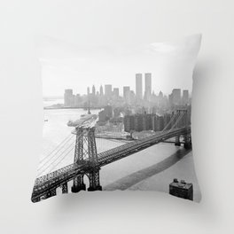 Photograph of NYC and The Williamsburg Bridge Throw Pillow