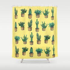 cactus on yellow Shower Curtain