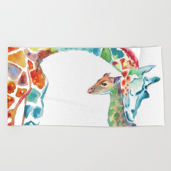 Mummy and Baby Giraffe Beach Towel