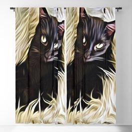 Black Cat Cuddle Blackout Curtain