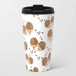 Hedgehogs in autumn Travel Mug