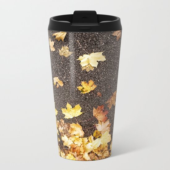 Gold yellow maple leaves autumn asphalt road Metal Travel Mug