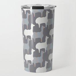 Gray Pink and White Llama Silhouette Seamless Travel Mug