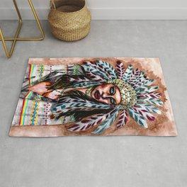 Lumbee Woman - Indian Native American Rug