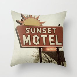 Sunset Motel Throw Pillow