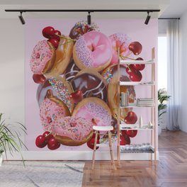 RED CHERRIES & PINK-CHOCOLATE FROSTED DONUTS Wall Mural